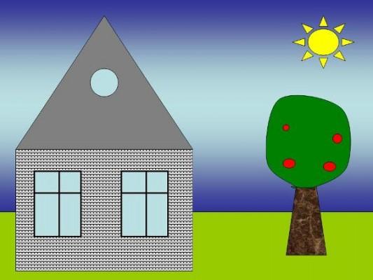Рисунок домика в деревне