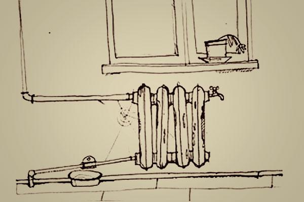 Старый радиатор отопления.